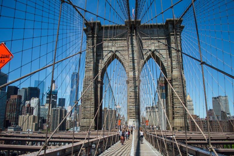 Brooklyn Bridge, One World Trade Center and Financial District: Summer in Manhattan. USA stock photo