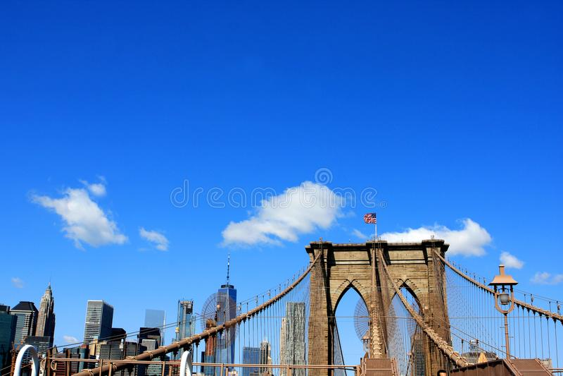 Brooklyn Bridge, New York City, USA. The Brooklyn Bridge over East River in New York City, USA stock photography