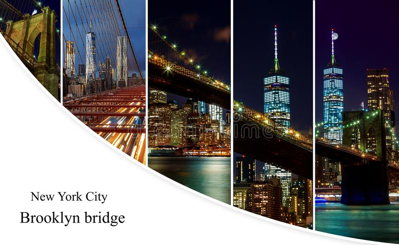 Brooklyn Bridge over East River at night in New York City photo collage from different picture Manhattan with lights and reflectio royalty free stock photo