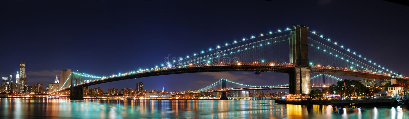 Brooklyn Bridge panorama in New York City Manhatta royalty free stock photos