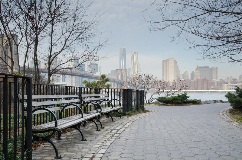 Brooklyn Bridge Park Bench and Walkway, Dumbo royalty free stock photography
