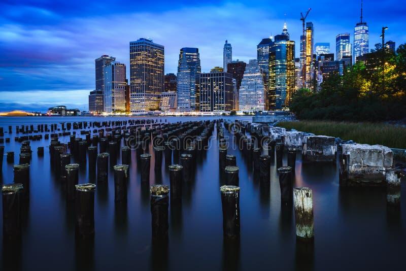 Brooklyn Bridge Park. Manhattan Skyline from Brooklyn Bridge Park, NYC USA stock photos