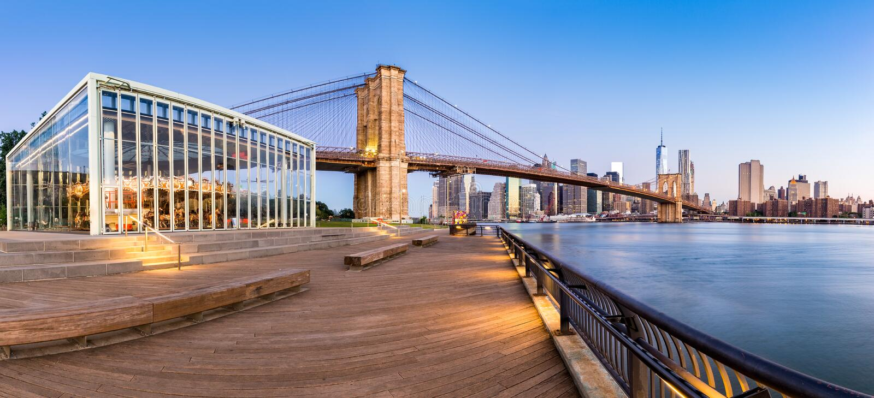 Brooklyn Bridge Park Panorama stock photography