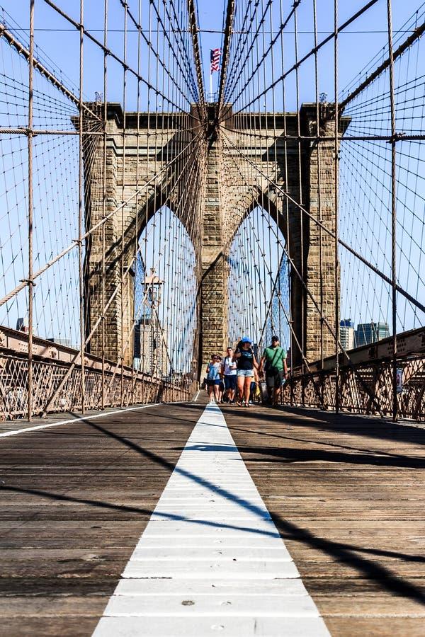 Brooklyn Bridge from pedestrian deck. Symmetric view of Brooklyn Bridge from the pedestrian deck stock photography