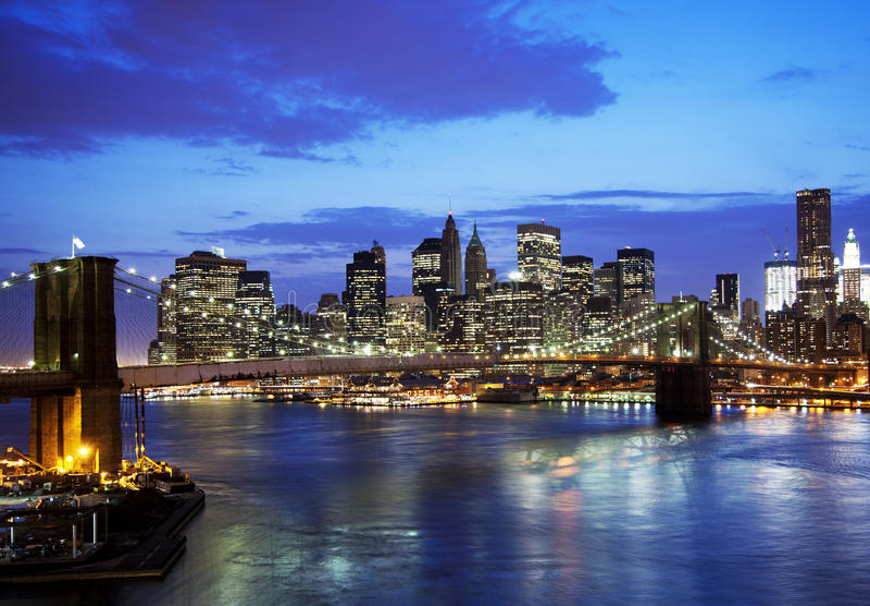 Brooklyn Bridge And Skyline Stock Photos