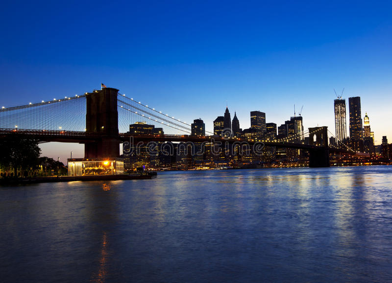Brooklyn bridge and skyline royalty free stock photo