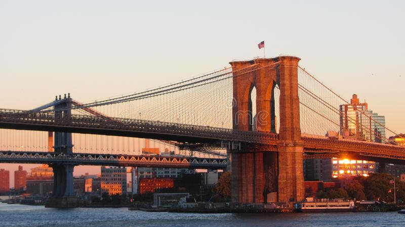 Brooklyn Bridge Sunset royalty free stock images
