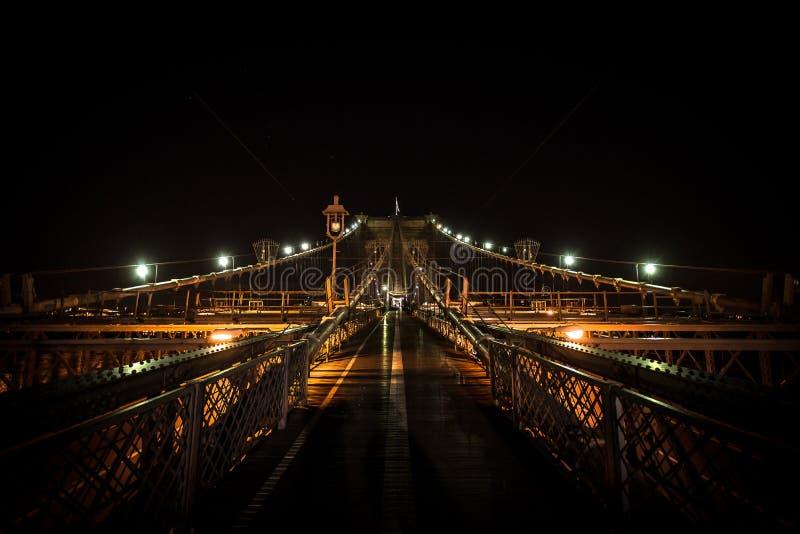 Brooklyn Bridge. Symmetric Brooklyn bridge night scene stock image