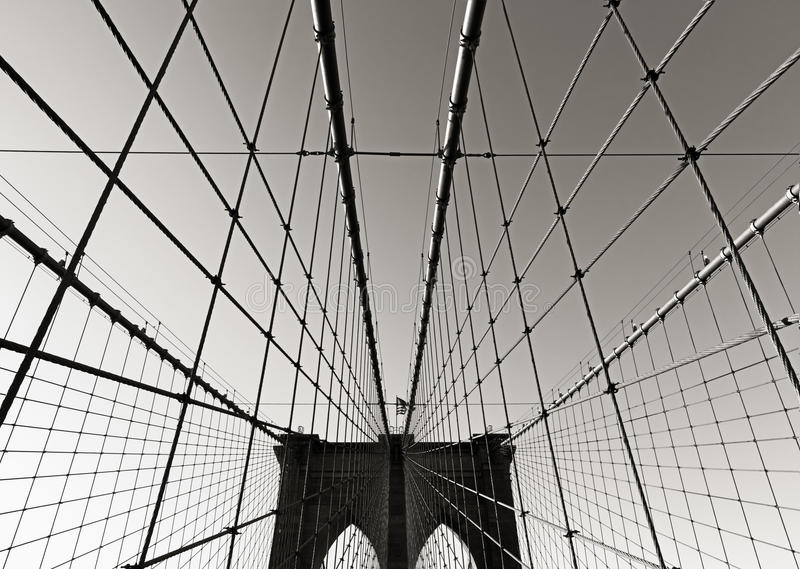 Brooklyn Bridge tower, in Black & White, with symmetrical suspension cables, New York City stock photography