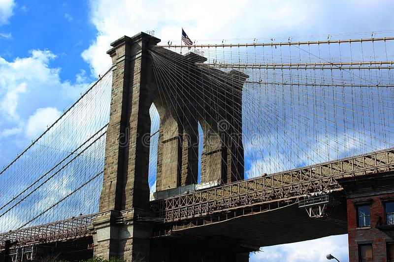 Brooklyn Bridge Tower and Cables, with Clouds and Sky stock images