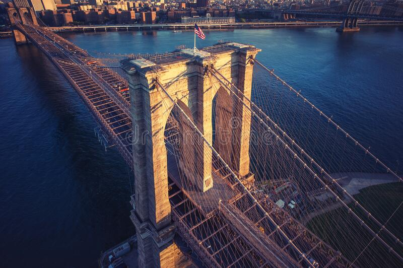 Brooklyn Bridge trom top - aerial view with East river. Background image. Taken from Brooklyn stock photography