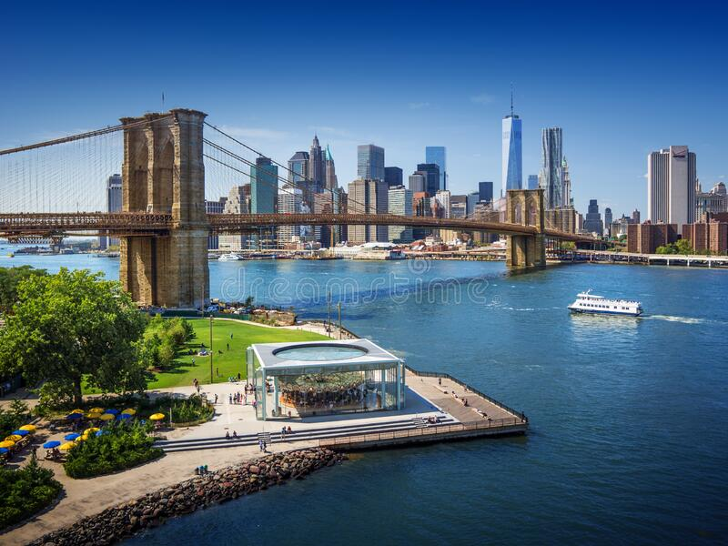 Brooklyn Bridge trom top - aerial view with East river. Background image. Taken from Brooklyn stock photos