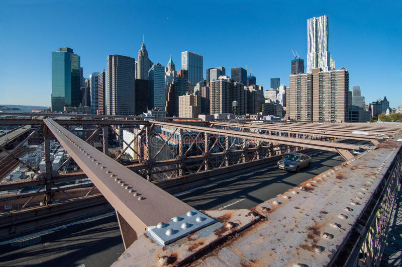 Brooklyn Bridge view of Lower Manhattan royalty free stock photography