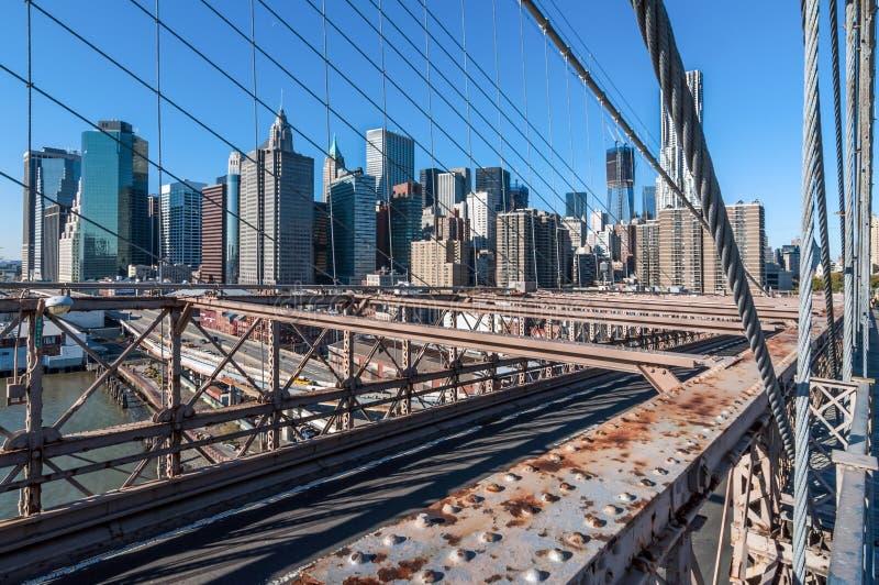 Brooklyn Bridge view of Lower Manhattan stock images