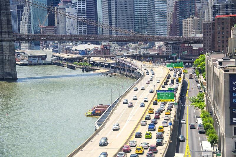 Brooklyn bro och New York City horisontdag royaltyfri foto
