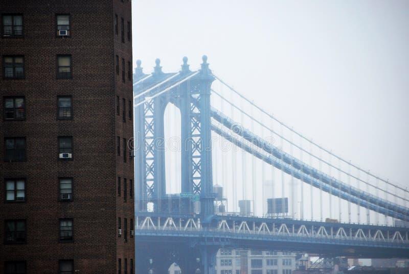 Brooklyn bro och New York, Manhattan horisont fotografering för bildbyråer