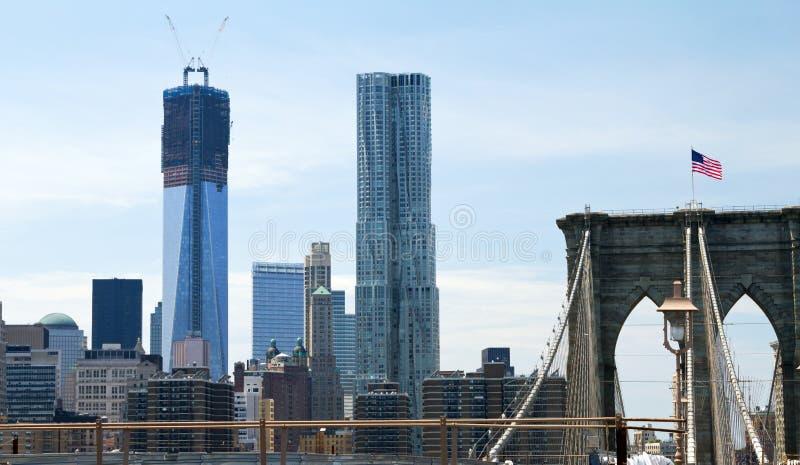 Brooklyn bro och ny världshandelmitt arkivbilder