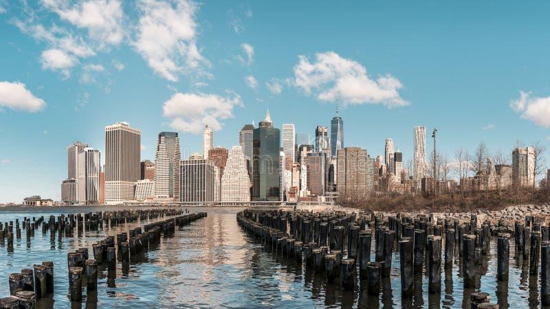 Panoramic view of the lower Manhattan, New York City royalty free stock image