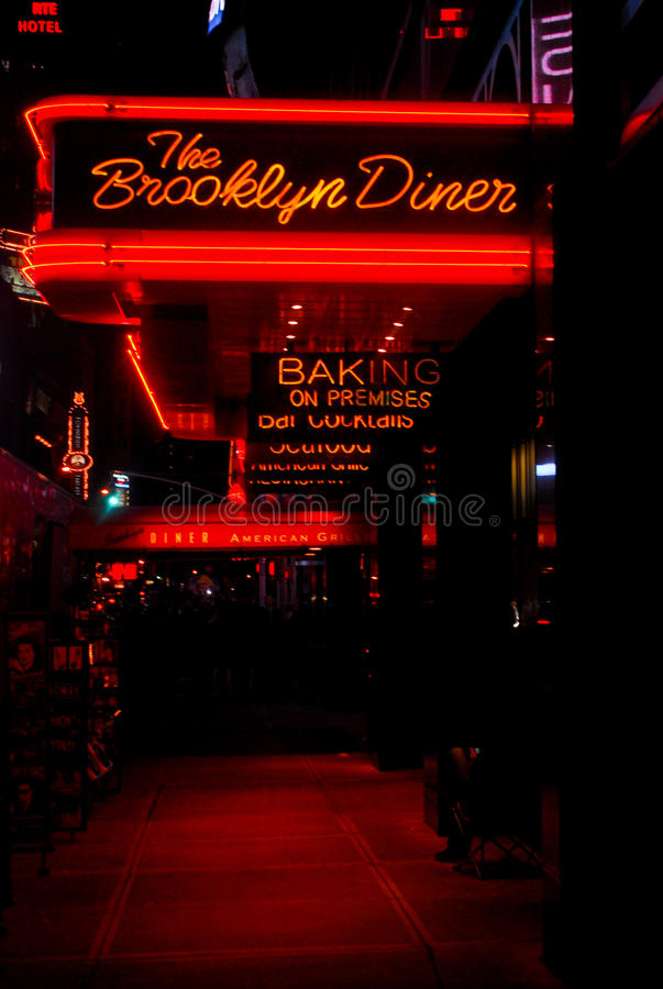 The Brooklyn Diner, Manhattan, NYC. Beautiful Neon sign for The Brooklyn Diner in Manhattan, NYC royalty free stock images