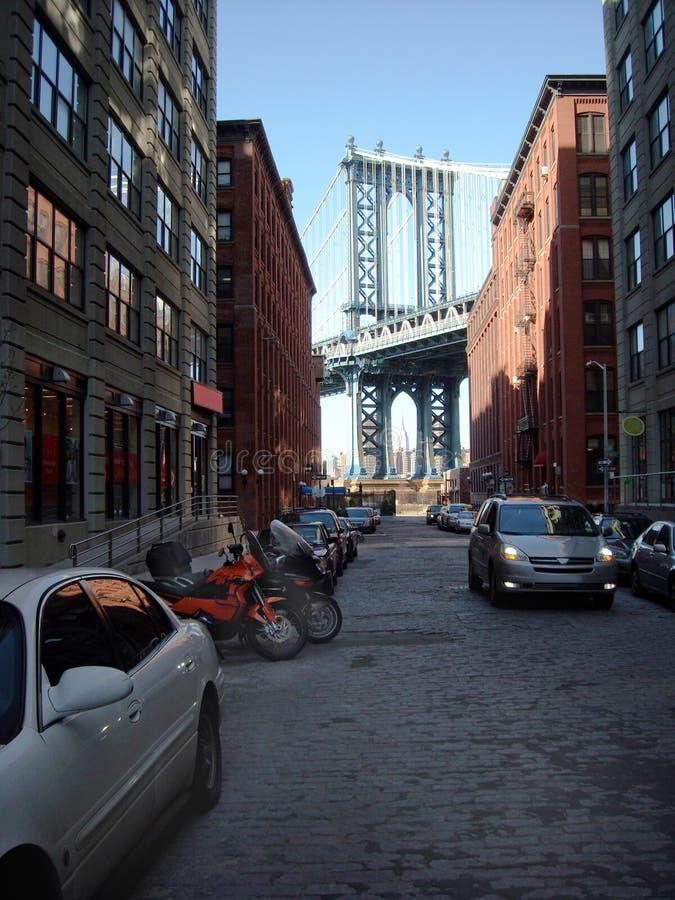 Brooklyn Dumbo New York USA. Brooklyn view of Manhattan Bridge stock photo
