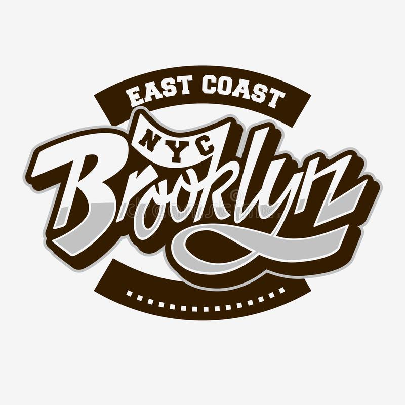 Brooklyn East Coast Custom Script Lettering Vintage Influenced Typographic Type Label Tee Print Design On A White royalty free illustration