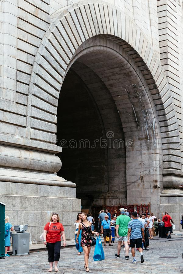 Brooklyn Flea Market in DUMBO in New York. New York City, USA - June 24, 2018: Brooklyn Flea Market in DUMBO. It includes vendors of furniture, vintage clothing royalty free stock images