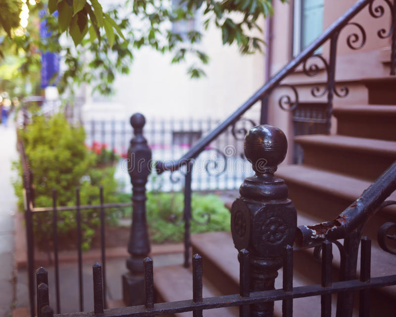 Brooklyn Heights fences. Vintage fences in Brooklyn Heights royalty free stock photos