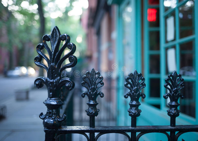 Brooklyn Heights fences. Vintage fences in Brooklyn Heights royalty free stock image