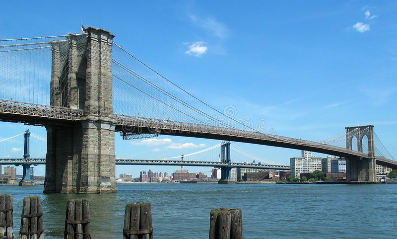 Brooklyn and Manhattan Bridges royalty free stock photography