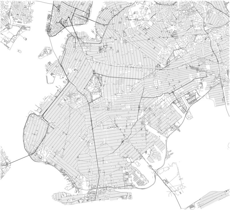 Brooklyn map, New York city, streets and district. Usa vector illustration