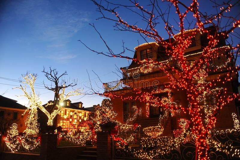 BROOKLYN, NEW YORK - DECEMBER 20, 2017 - Dyker Heights Christmas Lights are decorated for the holiday for. BROOKLYN, NEW YORK - DECEMBER 20, 2017 - Dyker Heights royalty free stock photo