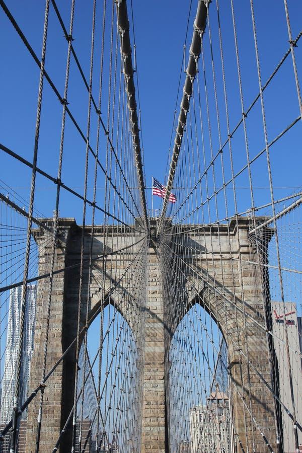 American Flag On Top Of Famous Brooklyn Bridge Editorial Photo