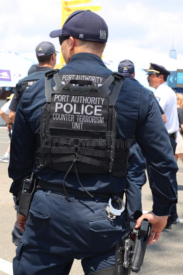 Port Authority Counter Terrorism Unit officer provides security during public event. BROOKLYN, NEW YORK - JULY 14, 2019: Port Authority Counter Terrorism Unit royalty free stock images