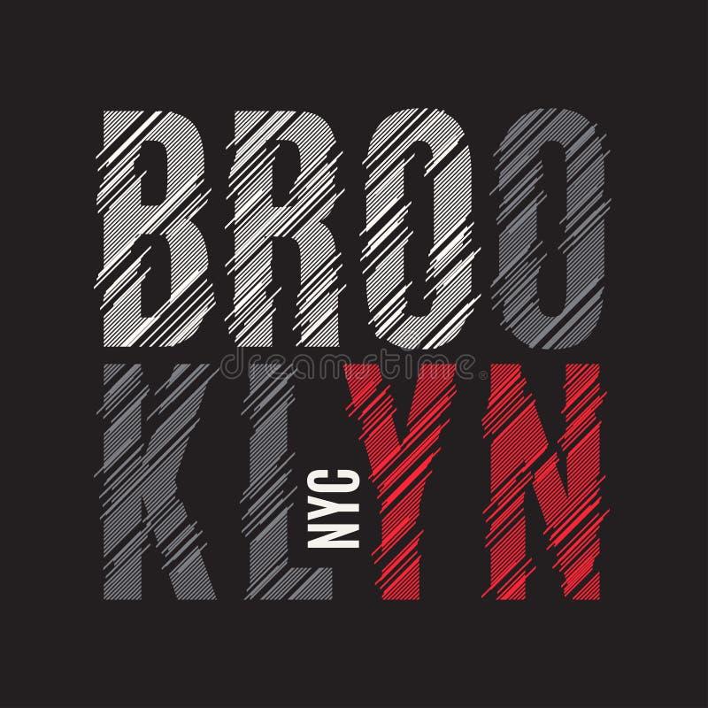 Brooklyn New York utslagsplatstryck Etikett för stämpel för T-tröjadesigndiagram stock illustrationer