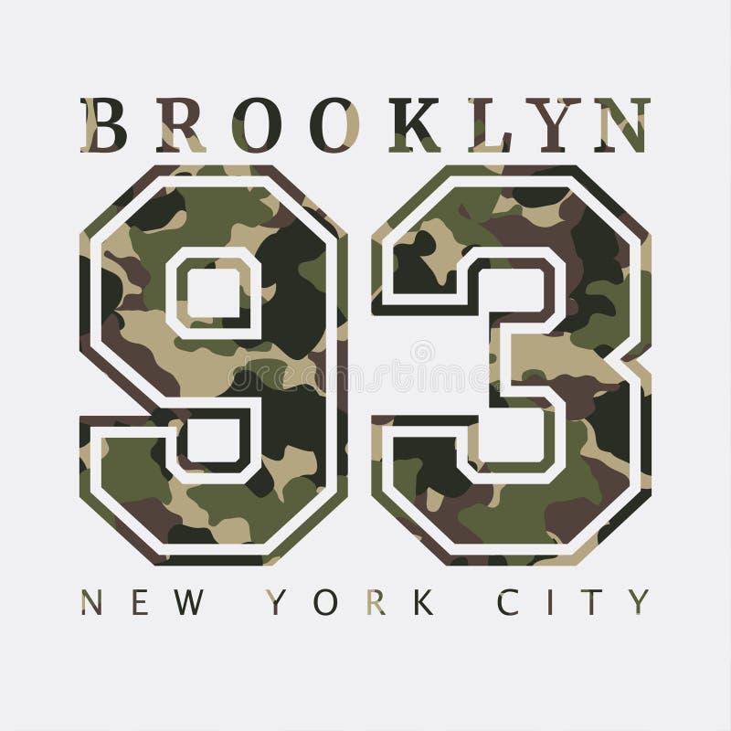 Brooklyn, New York Vestiti con cammuffamento, magliette di progettazione sport illustrazione vettoriale