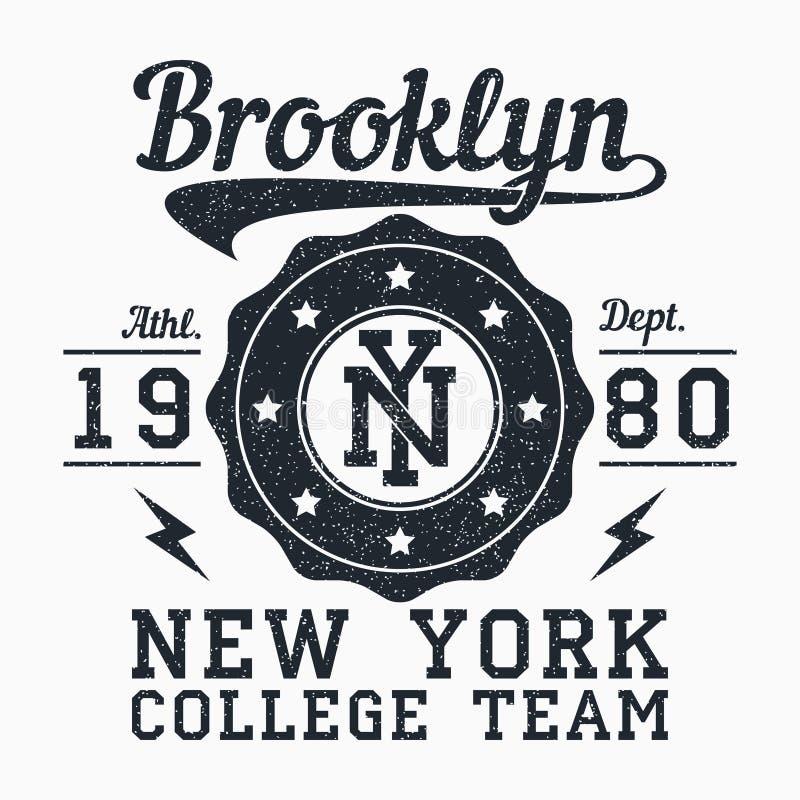 Brooklyn, Nowy Jork grunge druk dla odzieży Typografia emblemat dla koszulki Projekt dla sportowego odziewa wektor royalty ilustracja
