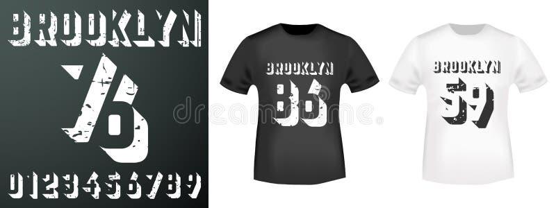 Brooklyn nummerstämpel och t-skjortamodell vektor illustrationer