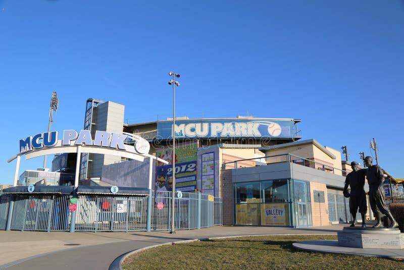 Estimativa de MCU um estádio de basebol do campeonato menor na seção de Coney Island de Brooklyn fotos de stock royalty free