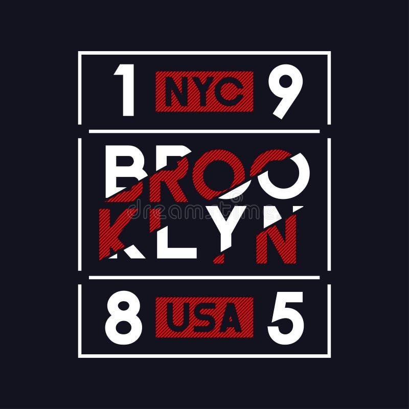 Brooklyn NYC, USA typografi för t-skjorta design Sportdiagram för dräkt och idrotts- kläder, utslagsplatsskjortatryck vektor illustrationer