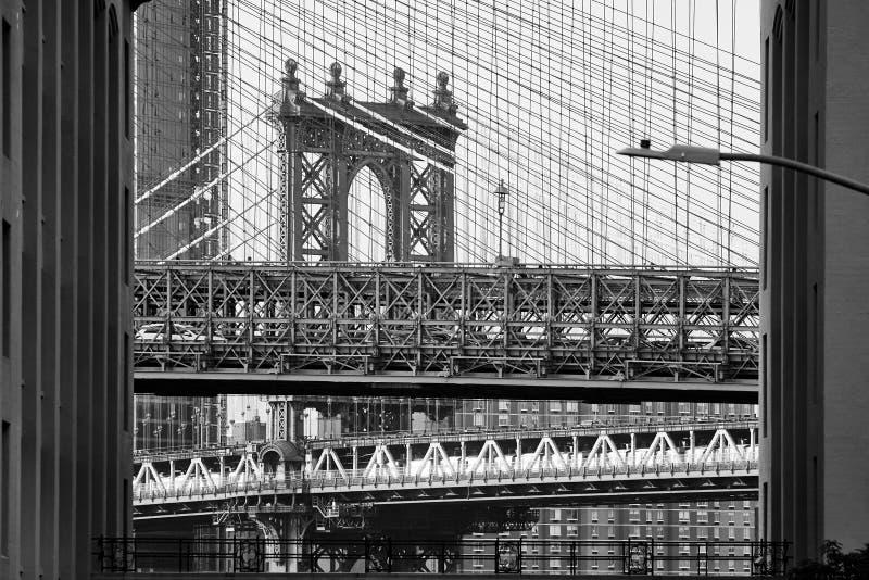 Brooklyn och Manhattan bro i en ram arkivbild