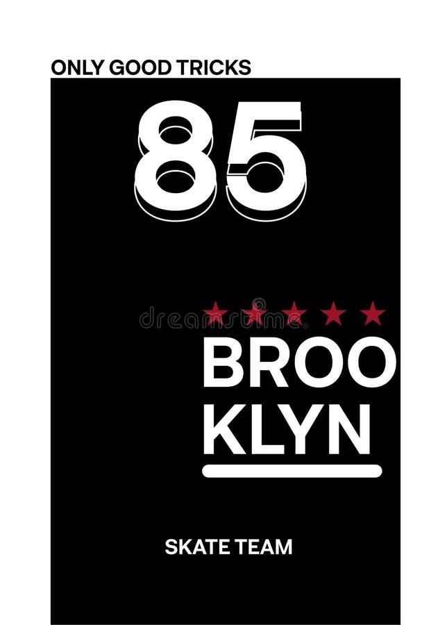 Brooklyn skridskolag, illustration för vektor för t-skjorta designmode stock illustrationer