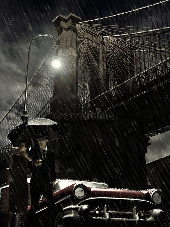 Brooklyn sotto pioggia illustrazione di stock