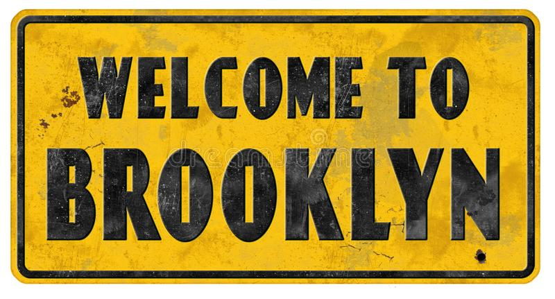Brooklyn Street Sign Grunge Welcome stock images