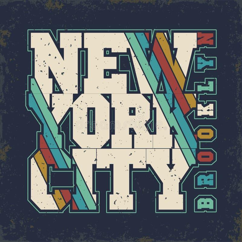 Brooklyn t-skjorta diagram stock illustrationer