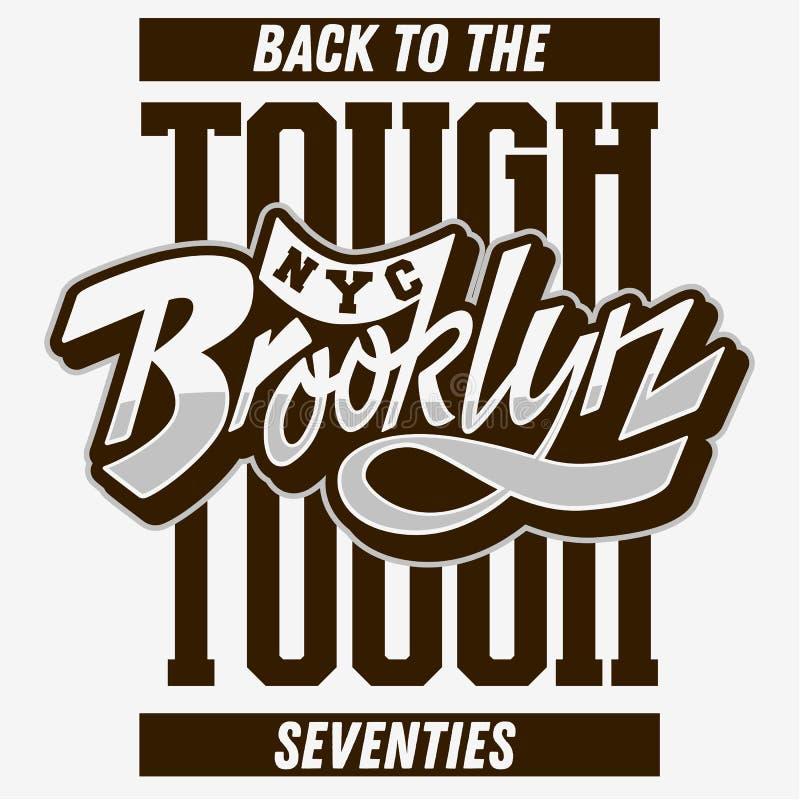 Brooklyn terug naar het Taaie Manuscript die van de de Jaren '70douane het Uitstekende Beïnvloede Typografische Ontwerp van de he vector illustratie