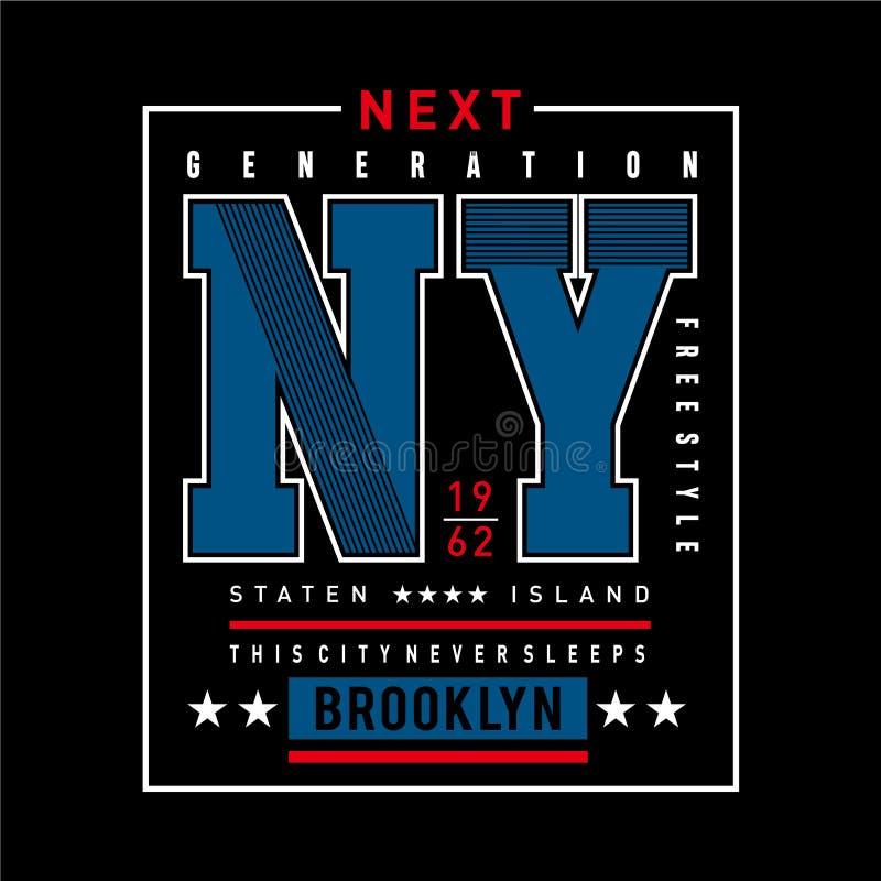 Brooklyn-Typografieentwurfst-stück für T-Shirt Grafiken stock abbildung