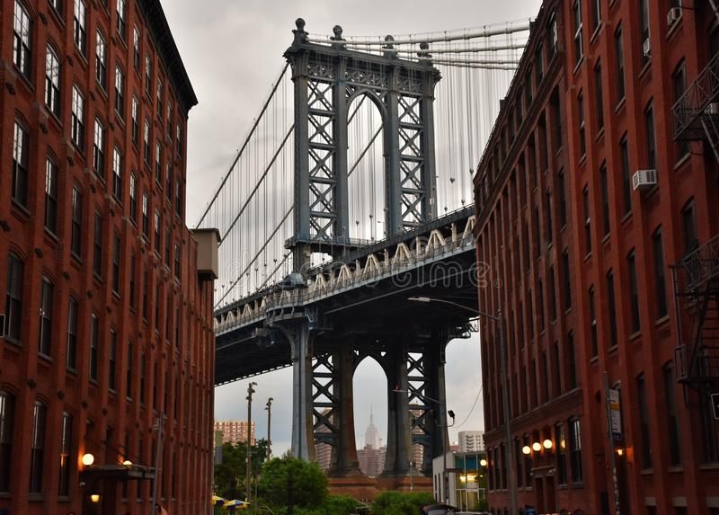 Manhattan Bridge from DUMBO. Brooklyn, USA - July 1, 2017: The Manhattan Bridge from the DUMBO Down Under the Manhattan Bridge Overpass neighborhood of Brooklyn royalty free stock images