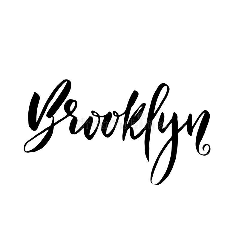 Brooklyn USA Torr borste för typografi som märker design Hand dragen kalligrafiaffisch också vektor för coreldrawillustration stock illustrationer