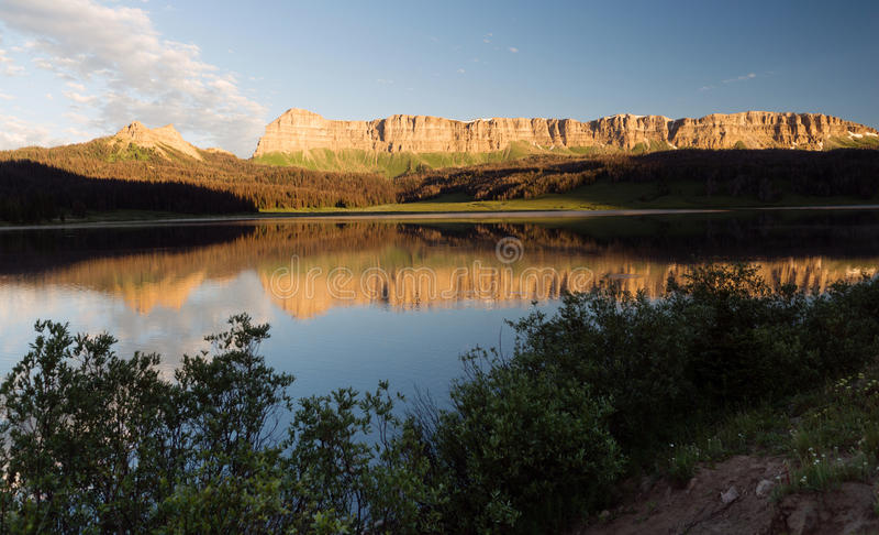 Brooks Lake Breccia Cliffs Mountain Range Shoshone National Forest royalty free stock photo