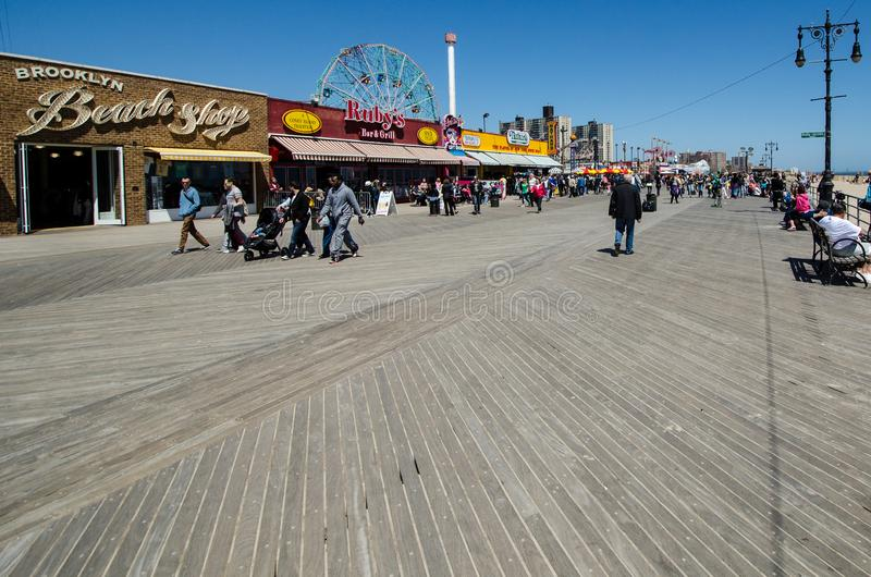 Wide angle view of the Coney Island Boardwalk in New York City on a spring day stock image